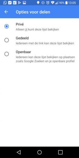 Google Maps lijsten delen