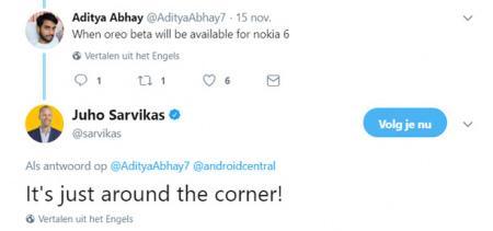 Nokia 6 Android 8.0 oreo twitter
