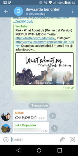 Telegram 4.5 bewaarde berichten
