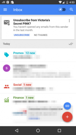 Inbox Unsubscribe card