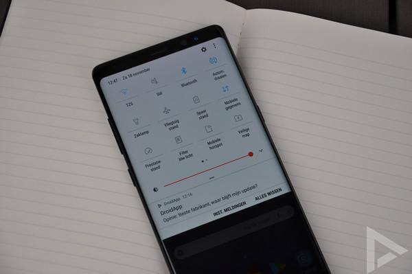 Samsung Galaxy Note 8 snelle instellingen