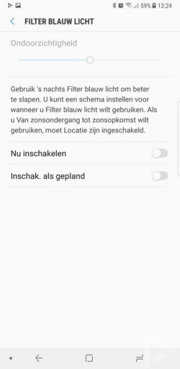 Samsung Galaxy Note 8 blauw licht filter