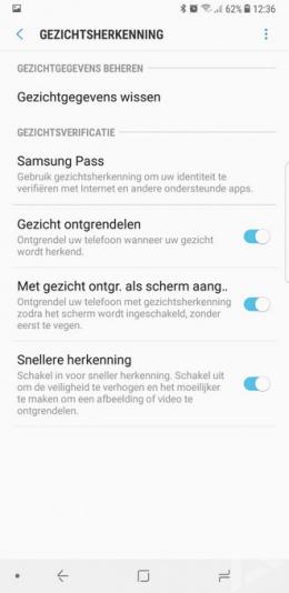 Samsung Galaxy Note 8 Gezichtsherkenning
