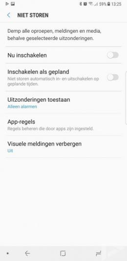 Samsung Galaxy Note 8 niet storen