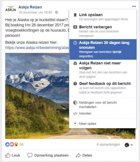 mute-functie Facebook
