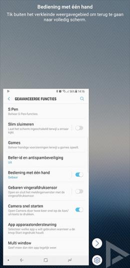 Samsung Galaxy Note 8 bediening één hand