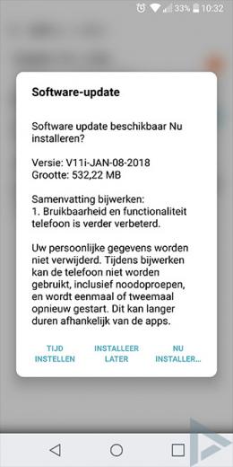 LG G6 beveiligingsupdate januari 2018