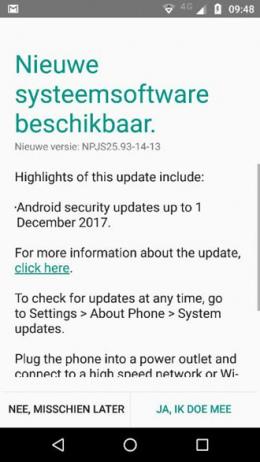 Moto G4 beveiligingsupdate december 2017