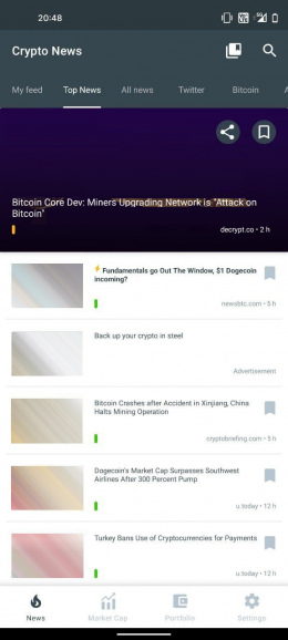 Crypto News applicatie
