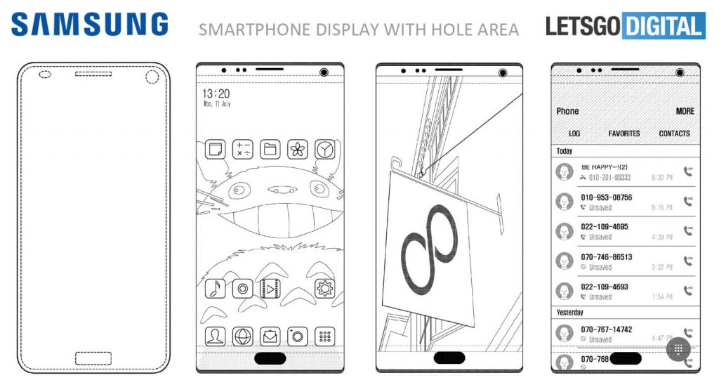 samsung patent volledig display