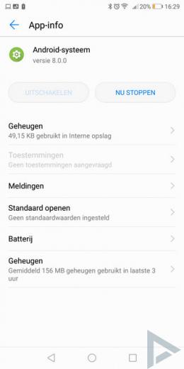 Android 8.0 Oreo actief in achtergrond notificatie
