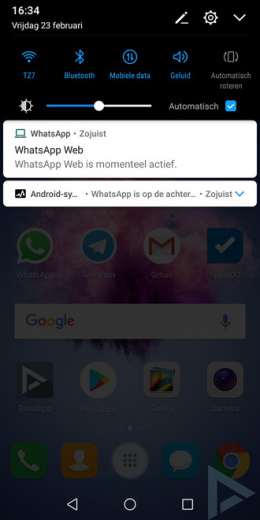 Android 8.0 Oreo actief in achtergrond melding