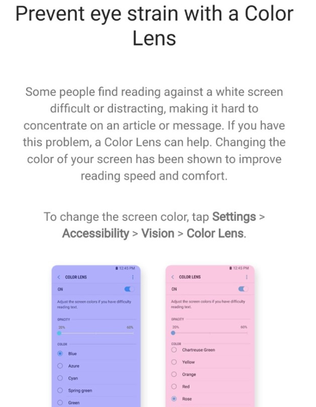 Samsung Experience 9 Color Lens