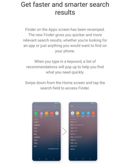 Samsung Experience 9 zoekfunctie