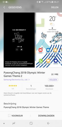 Samsung Galaxy Olympisch thema wit