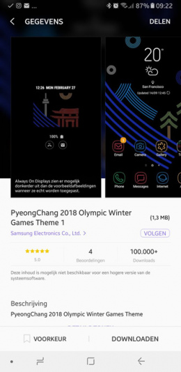 Samsung Galaxy Olympisch thema