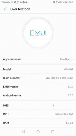Android 8.0 Oreo Huawei p10