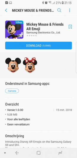 Galaxy S9 Mickey Mouse AR Emoji