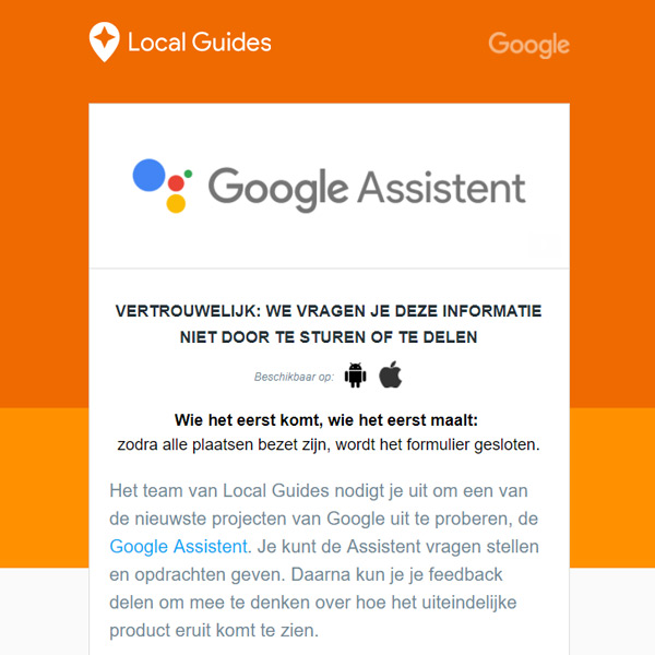 Google Assistant Nederlands test
