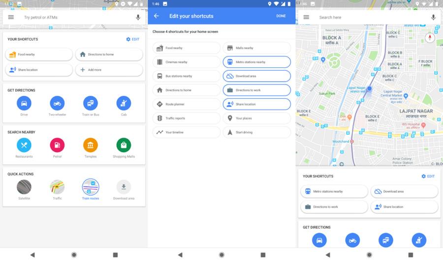 Google Maps persoonlijke snelkoppelingen