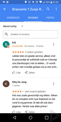 Google Maps zoekfunctie reviews