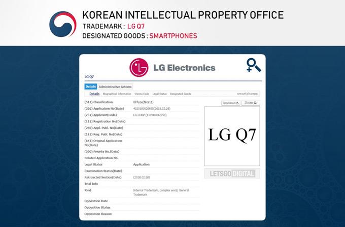 LG Q7 trademark