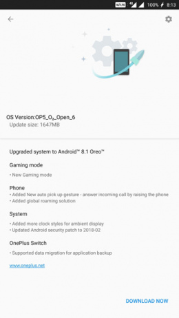 OnePlus 5 Open Beta 6