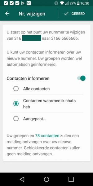 WhatsApp telefoonnummer wijzigen beta