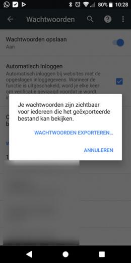 Chrome 66 wachtwoorden exporteren