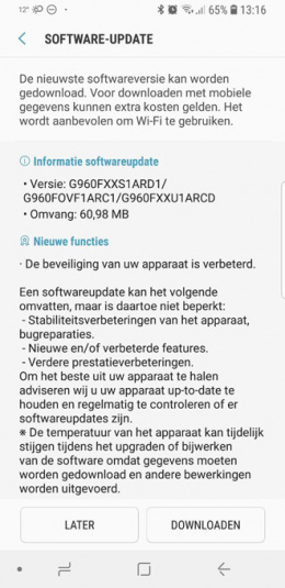 Galaxy S9 beveiligingsupdate april 2018