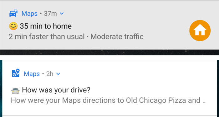 Google Maps emoji notificaties