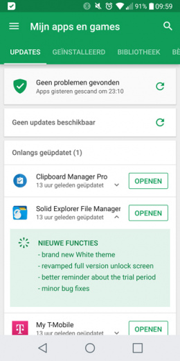 Google Play Store changelog apps