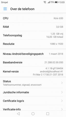 Huawei P9 Lite beveiligingsupdate maart 2018