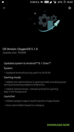 OnePlus 5 5T Android 8.1 Oreo