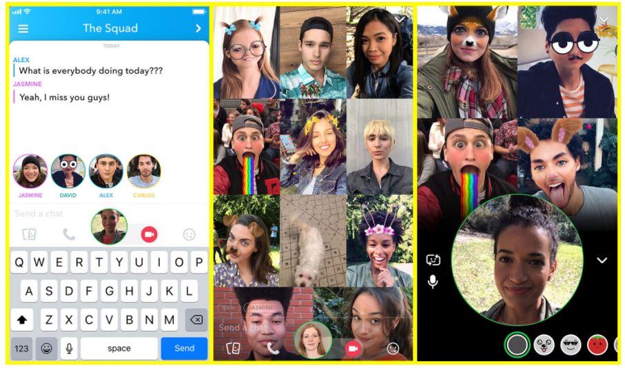 Snapchat videobellen 16 deelnemers