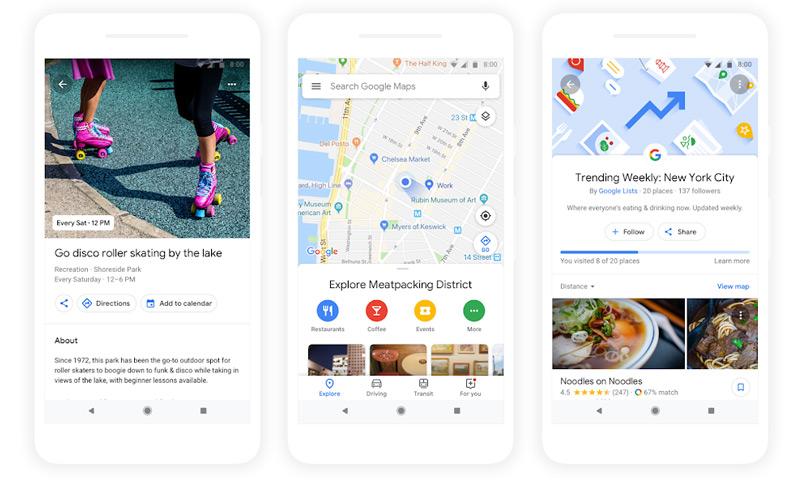 Google Maps suggesties