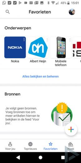 Google Nieuws 5.0 favorieten