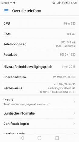 Huawei P9 Lite Beveiligingsupdate mei 2018