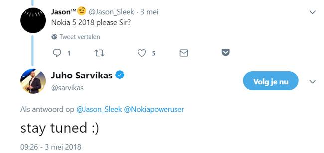 Nokia 5 2018 tweet
