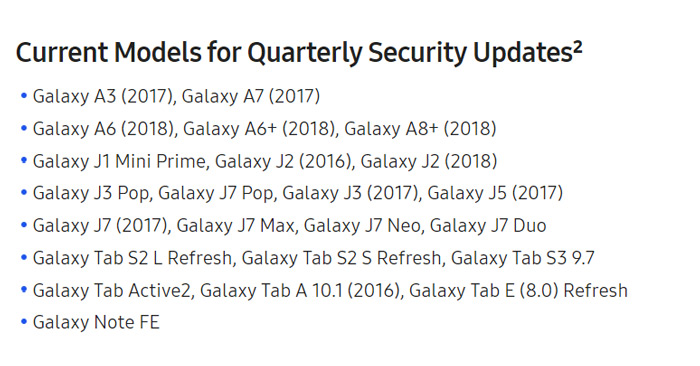 Samsung Galaxy A6 updates kwartaal