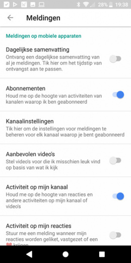YouTube notificaties