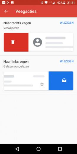 Gmail veegacties