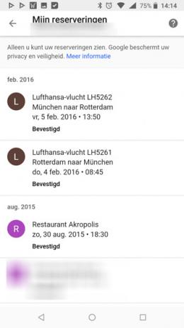 Google reserveringen