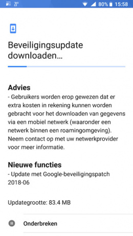 Nokia 8 beveiligingsupdate juni 2018