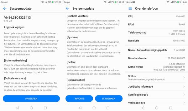 Huawei P9 Lite beveiligingsupdate juni 2018