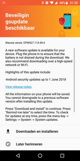 Moto G6 Plus beveiligingsupdate juni 2018