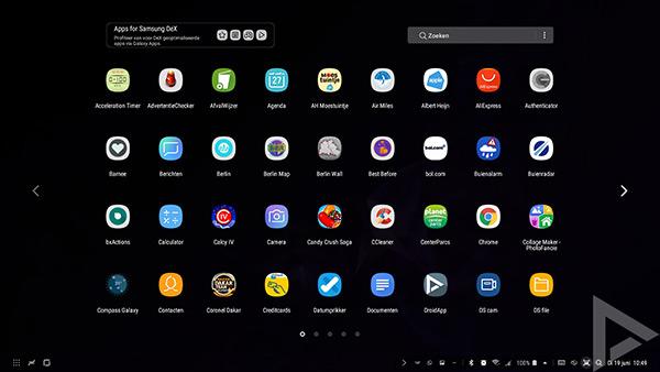 Samsung DeX Pad menu