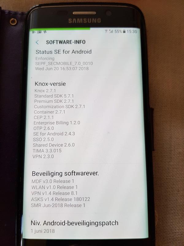 Samsung Galaxy S6 beveiligingsupdate juni 2018