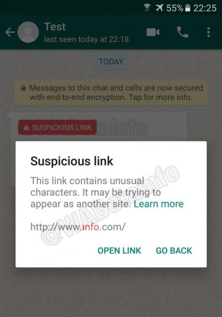 WhatsApp verdachte links