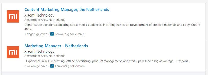 Xiaomi Nederland Linkedin